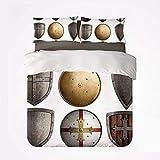 Juego de Funda nórdica Medieval Soft Juego de Cama de 3 Piezas, Conjunto de Escudos Patrón de Cruz Triangular Protección de Armas Antiguas Diseño rústico para Dormitorio