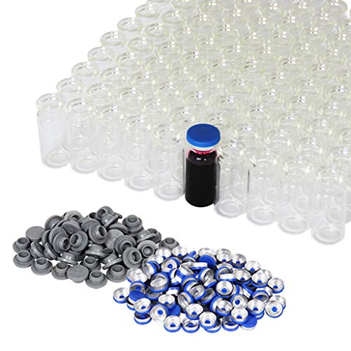 10ml Vials-Transparent Glass Headspace Vials with Plastic-Aluminum Flip Off Caps and Rubber Stoppers, 100 Pack, 20mm Flat Bottom Lab Vial (Transparent)
