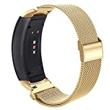 OenFoto Compatible Gear Fit2 Pro/ Fit2 Band, Metal Stainless Steel Replacement Accessories Strap for Samsung Gear Fit 2 Pro SM-R365/SM-R360 Smartwatch(Gold, Small)