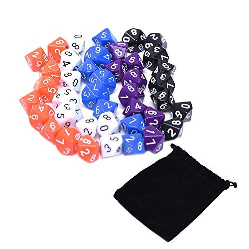 Dados Poliédricos Colorido 10 Caras con el Bolso Negro, 5 Colores, 50 Piezas