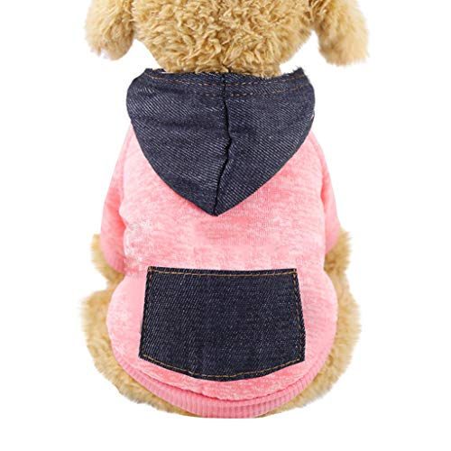 Longra Felpa per Cani con Cappuccio in Denim Vestiti Maglia Caldo Inverno Maglieria per Cane Gilet Giacca Cappuccio Cappotto Cane Gatto Abbigliamento Animali Domestici