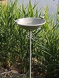AmaCasa Vogeltränke Vogelbad Vogelbecken Wassertränke Tränke Wasserschale Stecker Grau Eisen