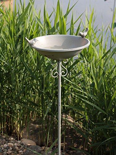 AmaCasa Vogeltränke Vogelbad Vogelbecken Wassertränke Tränke Wasserschale Stecker Eisen Grau - mit schwarzen Flecken!