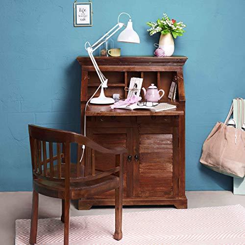 Butlers Hopkins Sekretär aus dunklem Holz in Sheesham Optik - antiker Vintage Schreibtisch mit Schubladen und Geheimfach - abschließbare Kommode - 90 x 44 x 117 cm