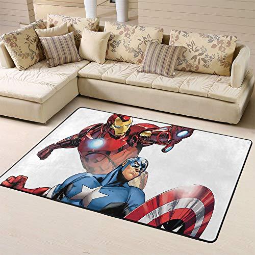 Zmacdk Avengers Infinity - Alfombra cuadrada antideslizante para habitación de juegos infantil, dormitorio de 5 x 8 pies (150 x 240 cm), Capitán América