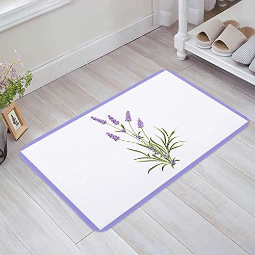 Alfombra estera del piso Tapetes Felpudo Verano Floral Púrpura Lavanda Flores Románticas alfombras 40X60CM