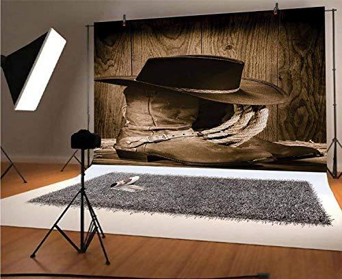 Fondo de vinilo de 12 x 10 pies, diseño de salvaje oeste con sombrero de vaquero y cuerda de ganadería antigua en exhibición de madera estilo Rodeo Cowboy para fondo de fotos de estudio