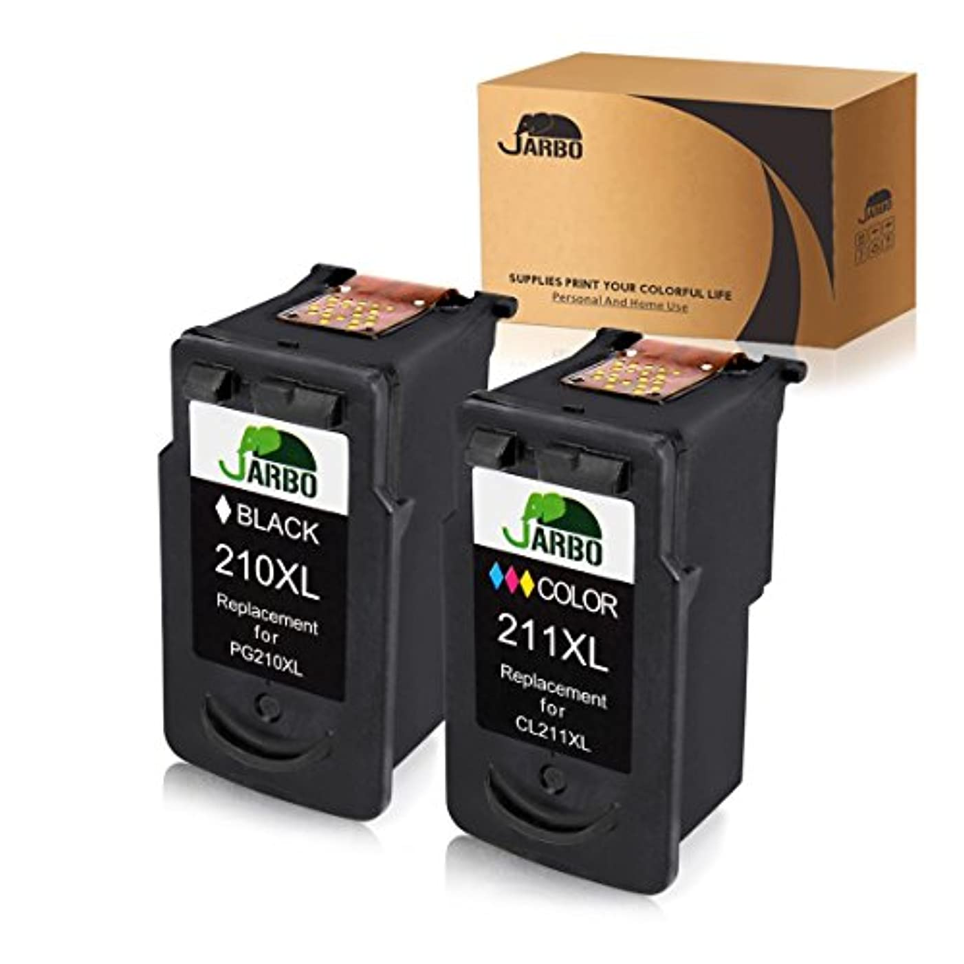 JARBO Remanufactured for Canon PG-210XL CL-211XL Ink Cartridges High Yield, 2 Pack (1 Black + 1 Tri-Color), Used in Canon PIXMA MP495 IP2700 MP490 MP480 MP280 MX330 MX340 XM410 MX420 MX350 Printer