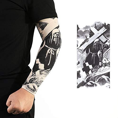 Duan hai rong DHR Manga del Tatuaje de Moda Tatuajes temporales sin Costuras elásticos Protector Solar Mangas Flor Brazo Hielo Seda Manga del Brazo para Hombres y Mujeres 1 par (Color : BT13)