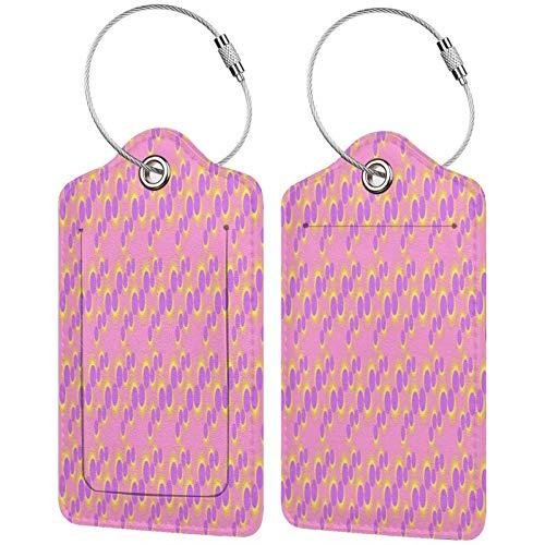 FULIYA Etiquetas para equipaje de viaje, etiquetas de identificación para tarjetas de visita, juego de 2, círculos, fondo, rosa, tamaño