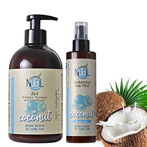 NGGL Veganes Premium-Spa für die Haare mit 100% natürlichem Kokosnussöl, Anti-Frizz 2-in-1 Shampoo und Conditioner 500ml und Texturierendes Haarspray mit Meersalz, 200ml