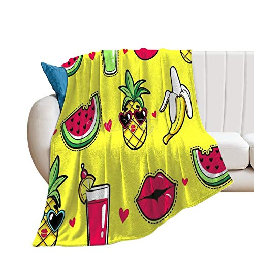 Throw Blanket for Couch Flannel Blankets Tropical Cartoon Watermelon Banana Lightweight Ultra Soft for All Season Farmhouse Decorative Blanket for Bed Sofa Travel Birthday Gift 40x50 Inch