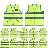 CIMC,Reflective High Visibility Safety Vests with Pockets,10 pack, Hi Vis Construction Vest, Working outdoor for man,woman