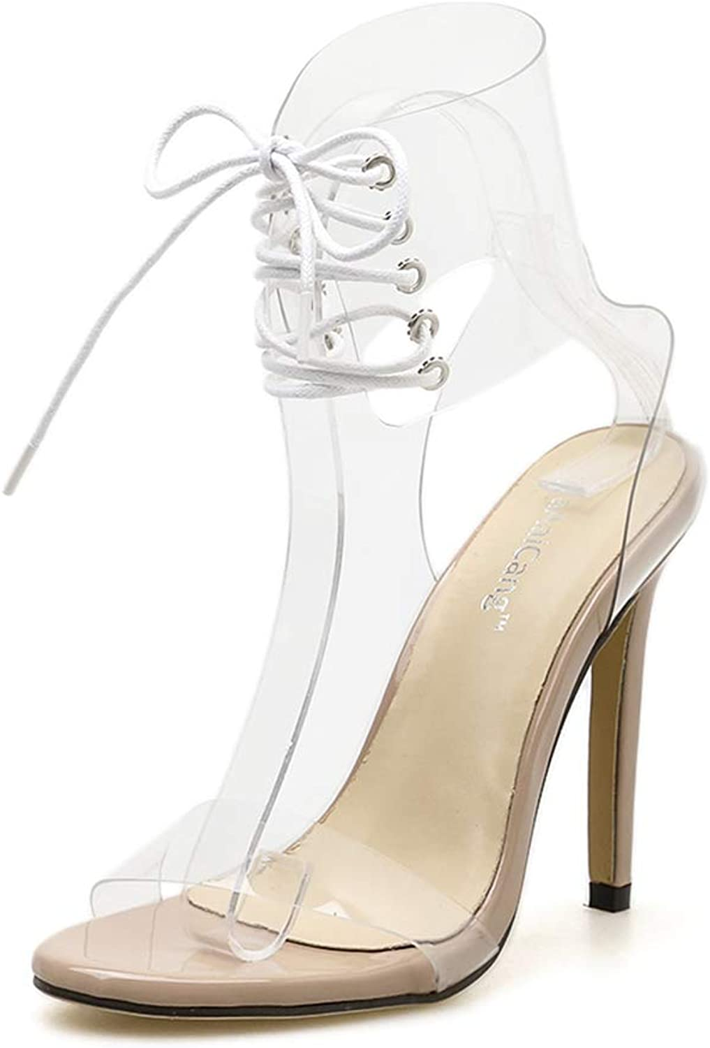 Women's High Heels shoes Black Pumps AnkleTransparent Strappy Lace Up Open Toe High Heels Sandals,Apricot,37