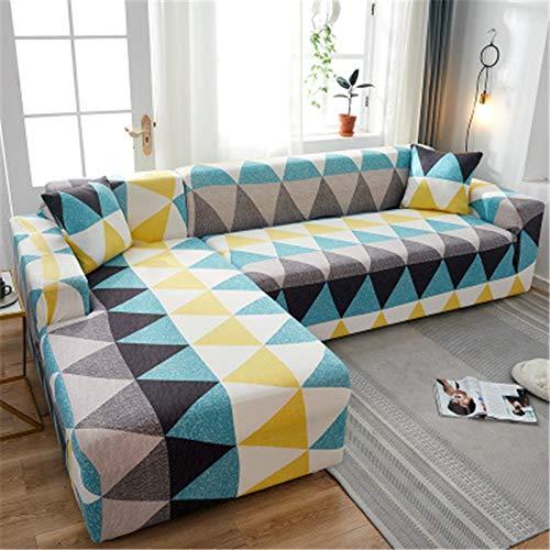 ASCV Geometrische Eck-Sofabezüge für Wohnzimmer Elastische Schonbezüge Couchbezug Stretch-Sofa Handtuch L Form Need Buy 2Pieces A5 3-Sitzer