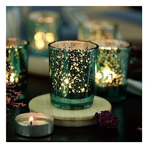 Supreme Lights Glas Teelichthalter 12er Set, 5.2x6.7cm, Gefleckter Teelichtgläser Geschenk Kerzenhalter Deko für Geburtstag, Party, Hochzeit, Feier, Haushalt, Gastronomie (Türkisch)