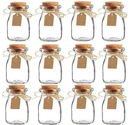 AmaJOY Paquete de 15 frascos de cristal con tapas de corcho, tarjeta de acompañamiento y guita de boda, recuerdo de fiesta, botellas de vidrio vintage