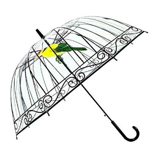 BJDKF paraplu Britse stijl Apollo transparante paraplu dames lange handgreep snor regen paraplu vrouwen BirdCage paraplu, Vogel