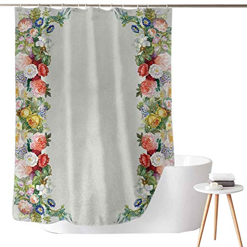 Shower Curtains Ocean Scenes Rose Garland Pastel Tones Jasmine Cornflower Bouquet Classic Bloom Graphic W65 x L72 for Master Bathroom