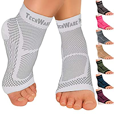 TechWare Pro Ankle Brace Compression Sleeve - Relieves Achilles Tendonitis, Joint Pain. Plantar Fasciitis Foot Sock with Arch Support Reduces Swelling & Heel Spur Pain. (White, L/XL)