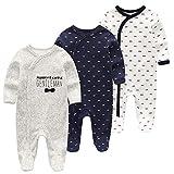 WXRベビー服 カバーオール 男の子 足つきロンパース 長袖 女の子 新生児 足つきカバーオール 0-3ヶ月3枚入