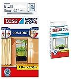 tesa Insect Stop COMFORT Fliegengitter für Türen - Insektenschutz Tür mit Klettband, anthrazit ( 2 x 65 cm )120 cm x 250 cm & Insect Stop STANDARD Fliegengitter für Fenster - 130 cm x 150 cm