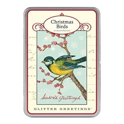 Cavallini - Brillantini Greetings Carte Postale - Natale Uccelli - Latta di 12 Cartoline - 6 Disegni/2 per Design