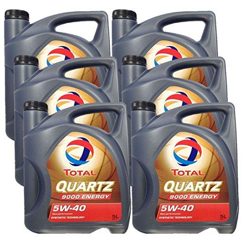 6x 5 liter (30L) Total Quartz 9000 Energy 5W-40 motorolie 5W40