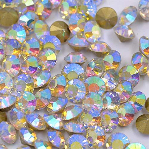 SS 6 8 10 12 16 20 30 Verre Clair Cristal Nail Art Strass Pointback Srass Applique Pierres Rondes DIY Cristal Autocollants, Crystal AB, SS8 1440 pcs