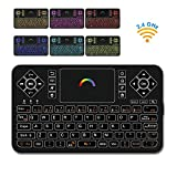 Best Wireless Keyboard with Touchpad Mouse - Q9 2.4GHz Colorful Backlit Mini Wireless Keyboard, Handheld Remote Control for Android TV Box, Windows PC, HTPC, IPTV, Raspberry Pi, XBOX 360, PS3, PS4