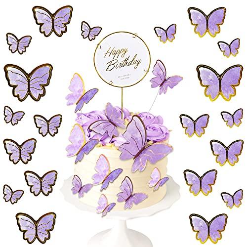 N\C 21 Stück Cake Topper Schmetterling Kuchen Deko Geburtstag Kuchen Topper Cupcake Happy Birthday Torten Stecker für Geburtstag Hochzeit Party Wanddeko (Lila)