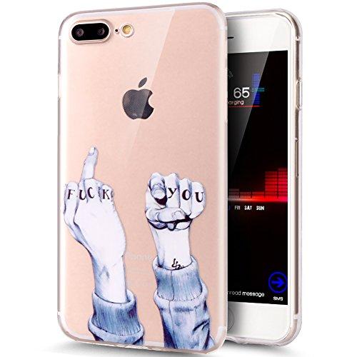 Kompatibel mit iPhone 8 Plus Hülle,iPhone 7 Plus Hülle,ikasus Durchsichtig mit Bunte Kunst Gemalt Muster Kristallklar TPU Silikon Handy Hülle Case Tasche Schutzhülle für iPhone 8 Plus/7 Plus,Fuck You