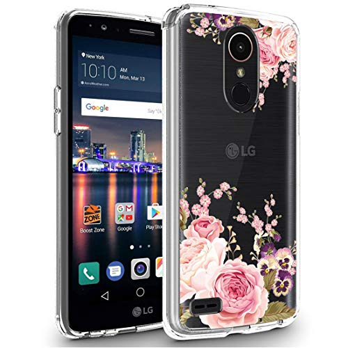 LG Stylo 3 Case, LG Stylo 3 Plus Case, Ueokeird Clear Soft Flexible TPU Watercolor Flowers Floral Printed Back Cover for LG Stylo 3/Stylo 3 Plus/LG LS777 (Rose Flower)