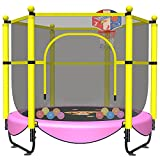60' Trampoline for Kids, 5 FT Toddler Baby Trampoline with Safety Enclosure Net, Indoor or Outdoor Pink Small Recreational Trampolines with Basketball Hoop, Birthday Gifts for Kids, Gifts for Girl