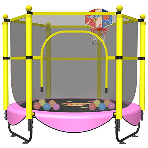 60' Trampoline for Kids, 5 FT Toddler Baby Trampoline with Safety Enclosure Net, Indoor or Outdoor Pink Small Recreational Trampolines with Basketball...