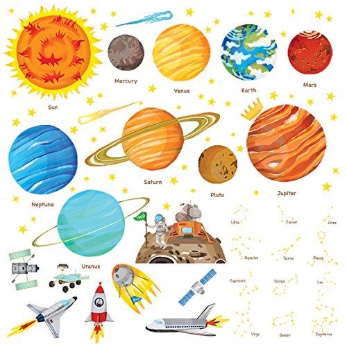 Decowall DW-1501S Sonnensystem Planeten Platz Weltraum Wandtattoo Wandsticker Wandaufkleber Wanddeko für Wohnzimmer Schlafzimmer Kinderzimmer (Mittlere) (Englisch Ver.)