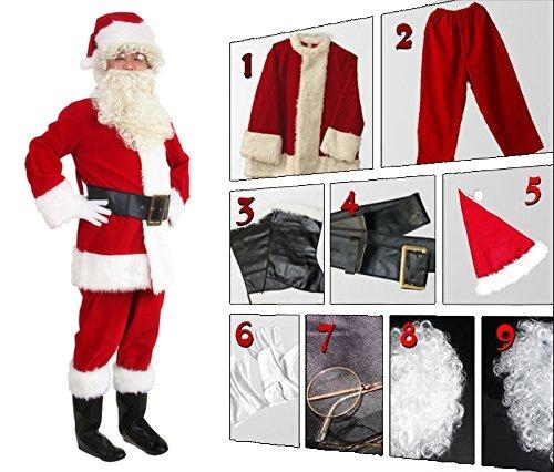 WHOBUY Men's Deluxe Santa Suit 10pc. Christmas Adult Santa Claus M