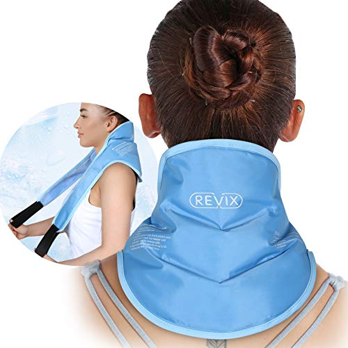 REVIX Neck Ice Pack Wrap with Strap and Soft Plush Lining Cold Pack for Neck Pain Relief, Cool Reusable Freezer Gel Pad for Swelling, Injuries and Post-Surgery Recovery