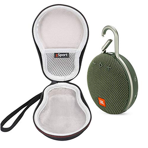 JBL Clip 3 IPX7 Waterproof Portable Bluetooth Speaker Bundle with gSport Deluxe Travel Case (Green)