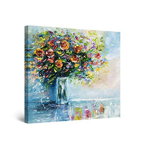 Startonight Impression Sur Toile Bouquet de Fleurs sur la Table - Tableau Nature - Decoration Murale Salon Moderne - Image sur Toile - 80 x 80 cm