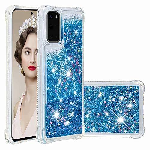 Funda para teléfono móvil compatible con Samsung Galaxy A31, carcasa de silicona líquida con purpurina, carcasa de cascada para niñas, carcasa de TPU para Samsung Galaxy A31 azul azul Samsung Galaxy A31