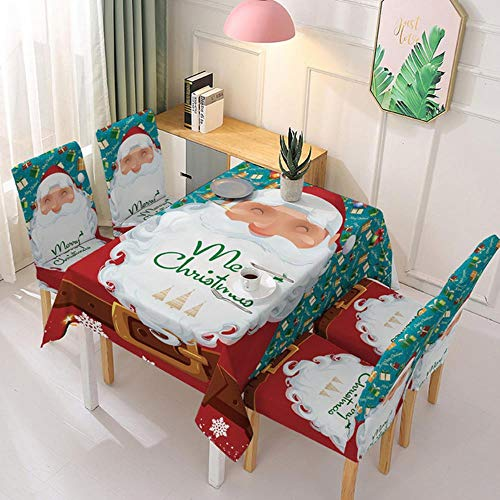 Ltong Waterproof Christmas Tablecloth and Chair Cover Elastic Santa Claus Rectangular Dinning Table Cover Cloth for Party Events Decor,D,6pcs Chair Cover
