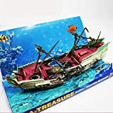 FAMKIT - Ornamento per acquario, grande Galeone affondato, nave naufragio, con pompa ad aria azionata, decorazione per acquario, accessori per acquari