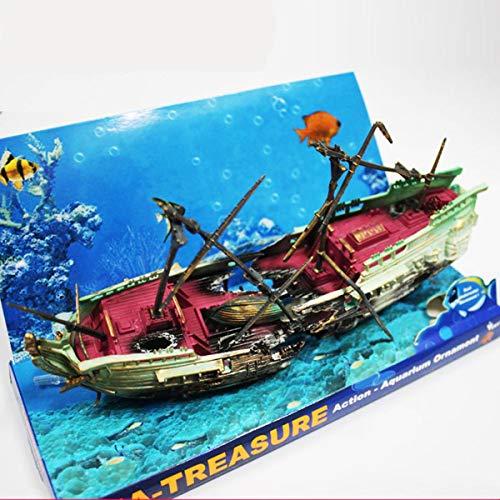 FAMKIT Aquarium Ornament Large Sunken Galleon Ship Wreck Air Pump Driven Action Shipwreck Decoration for Fish Tank Accessories