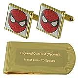 Película Spiderman Hero tono Oro gemelos Money Clip grabado Set de regalo