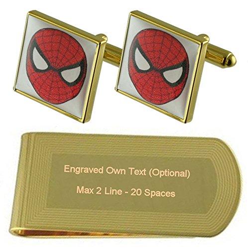 Film Spiderman Hero Gold-tone gemelli denaro inciso Clip Set regalo
