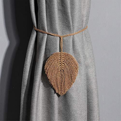 SWECOMZE 2 alzapaños hechos a mano para cortina, con clips de algodón, cuerda de algodón, alzapaños para la decoración del hogar (C)
