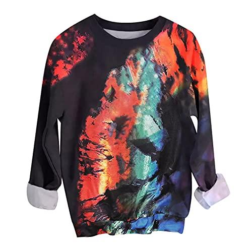 Zldhxyf Sudadera para mujer de otoño, batik, hip hop, suéter de manga larga, cuello redondo, estampado vintage, suelta, básica, suéter, Multicolor 6, L