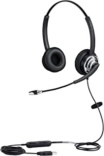 USB Telephone Headset with Noise Cancelling Nuance Dragon Dictation Microphone Computer PC Headset Dual Ear for Skype Chat...