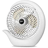viniper Battery Operated Fan, USB Desk Fan : 180° Rotation and 3 Speeds Strong Wind Portable Quiet Fan, Optimised Battery & Longer Working Hours, Small but Mighty, Strong Cooling (6.2 inch, White)